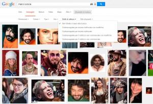 La schermata con le opzioni di ricerca per immagini su Google
